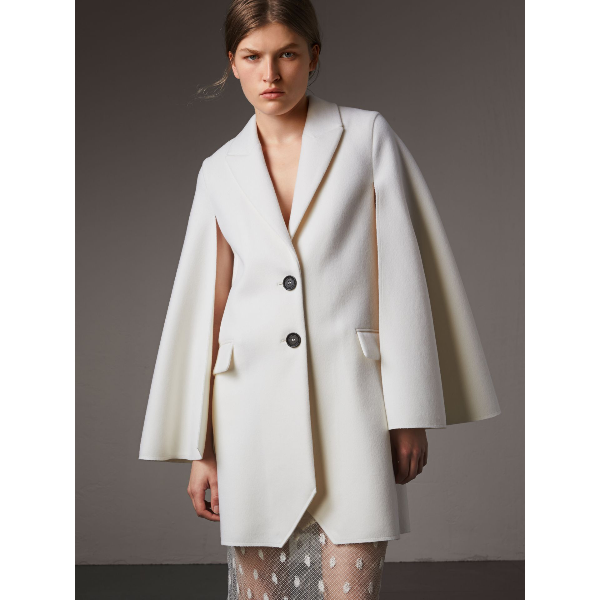 Double-faced Wool Cape Coat in White - Women | Burberry - gallery image 1