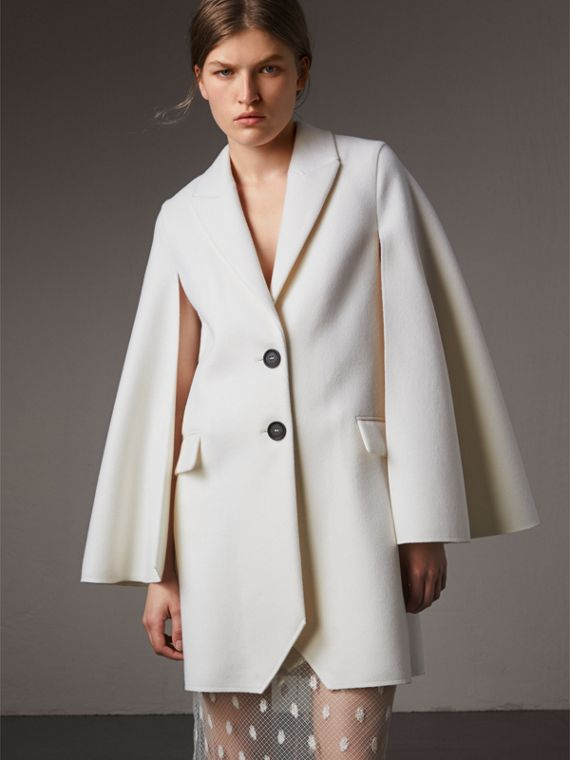 Manteau-cape en laine double face (Blanc)