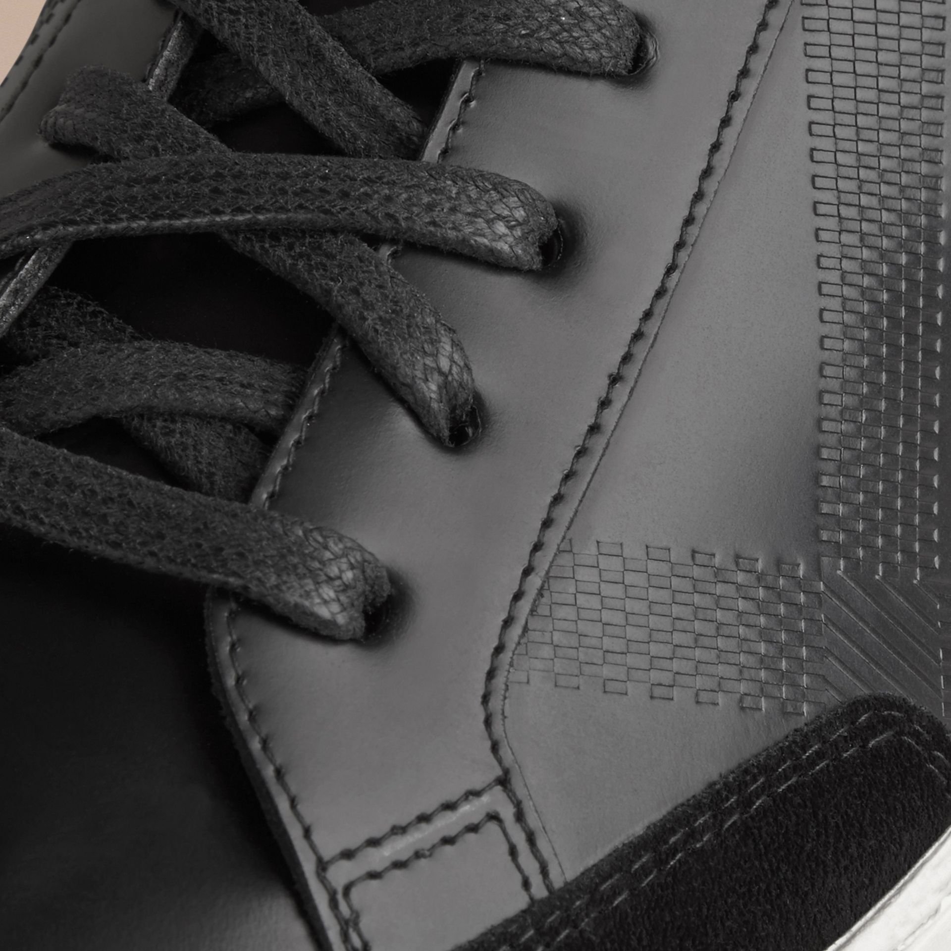 Black Embossed Check Leather Trainers - gallery image 2