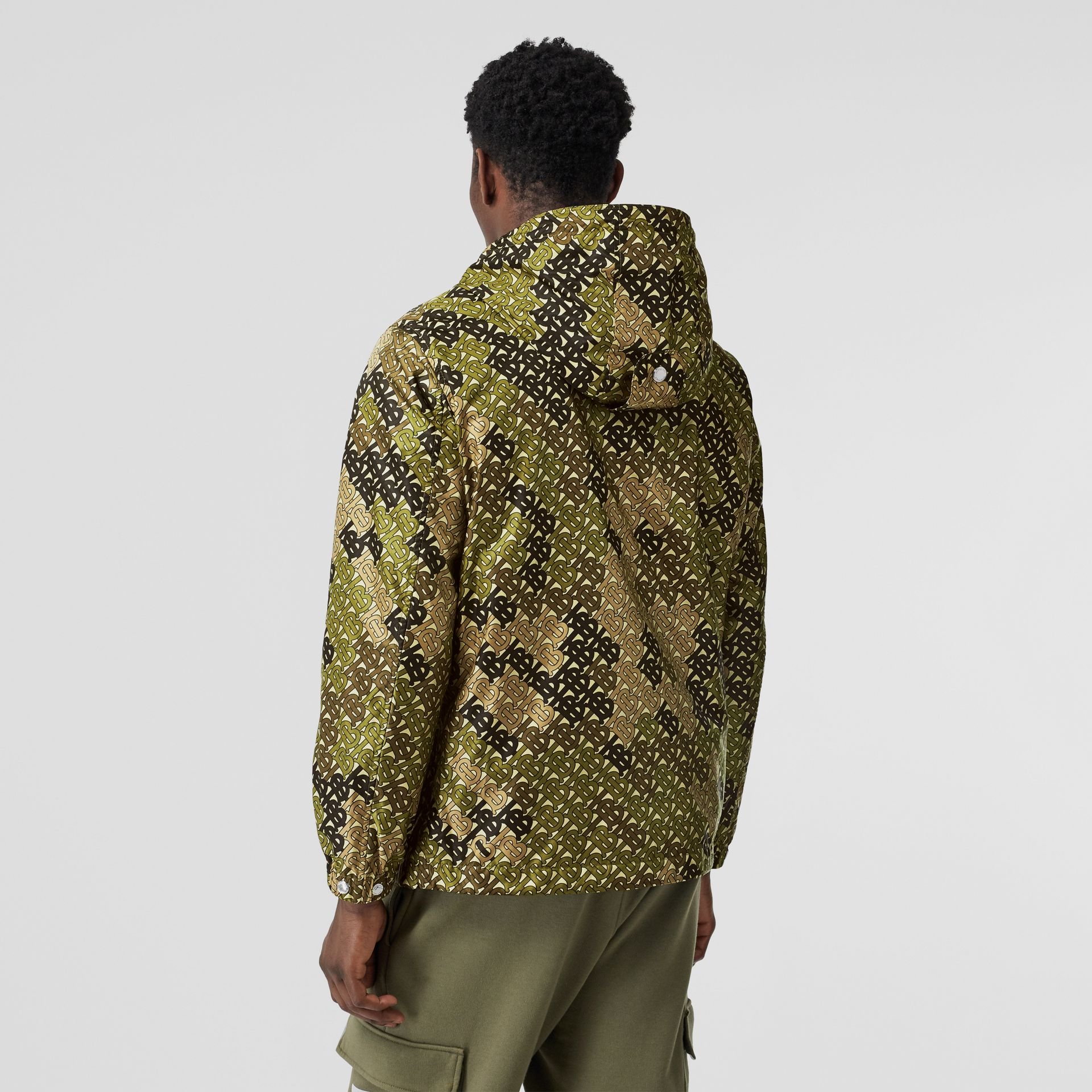 Monogram Print Nylon Hooded Jacket in Khaki Green - Men | Burberry - gallery image 2