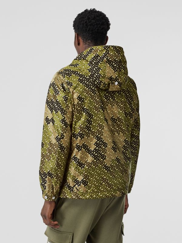 Monogram Print Nylon Hooded Jacket in Khaki Green - Men | Burberry Hong Kong S.A.R - cell image 2