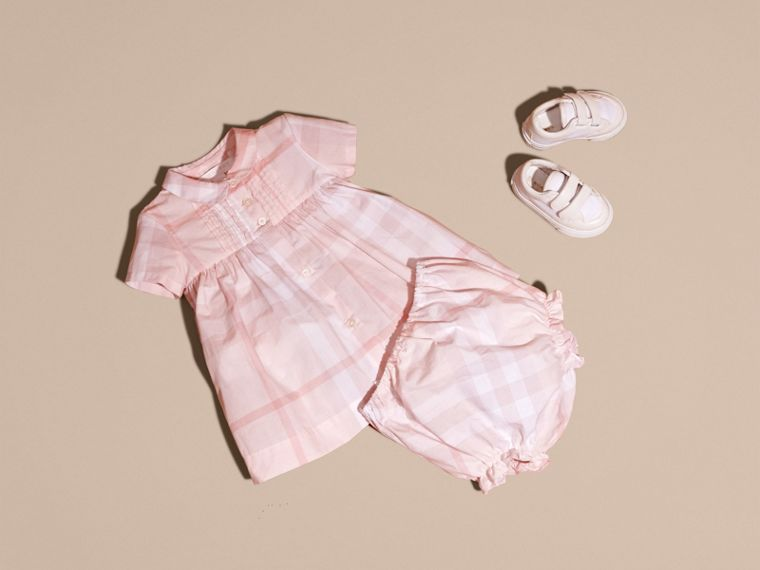 Ice pink Check Cotton Pin Pleat Dress and Bloomers - cell image 4