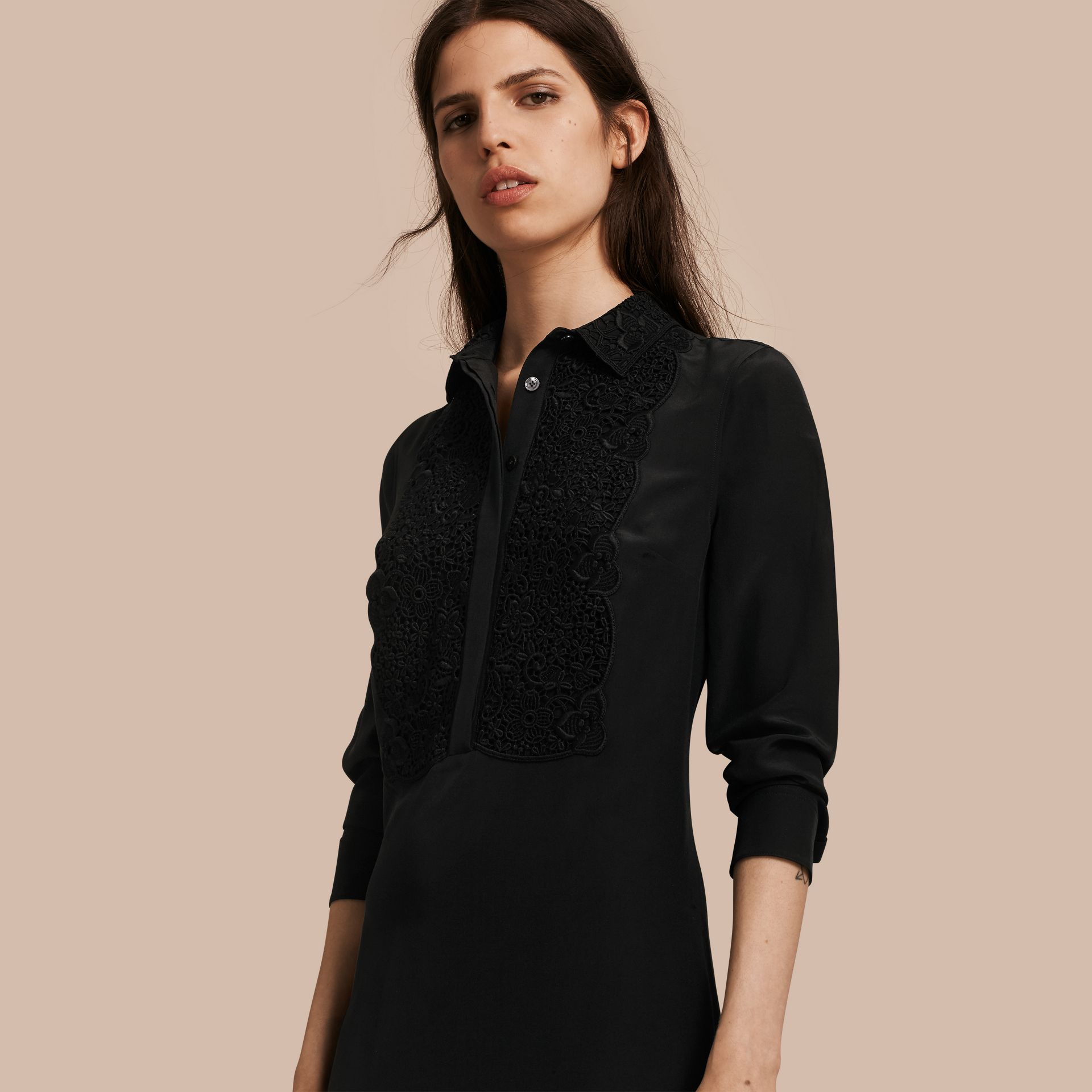 Black Floral Lace Bib Silk Shirt Dress - gallery image 1