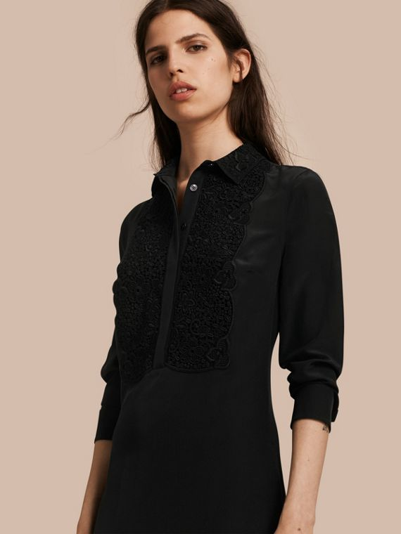 Floral Lace Bib Silk Shirt Dress