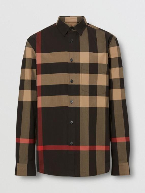 Check Stretch Cotton Poplin Shirt in Black