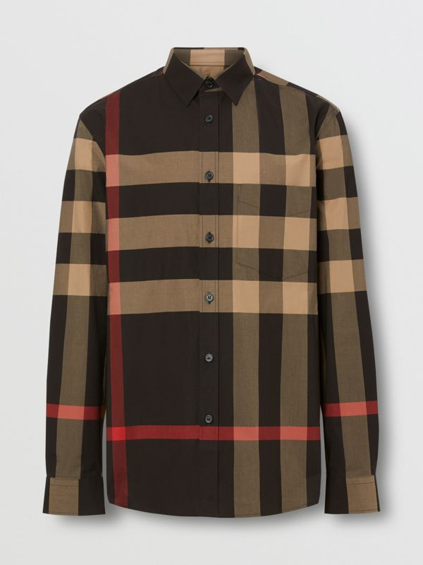 Check Stretch Cotton Poplin Shirt in Black - Men | Burberry United States - cell image 3