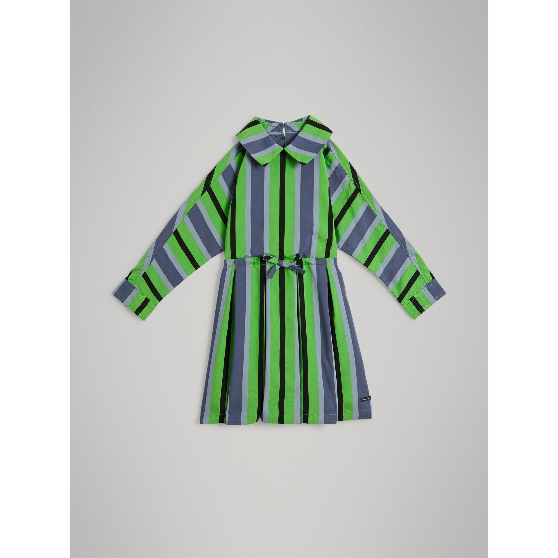 Striped Drawcord Dress in Teal - Girl | Burberry - gallery image 0