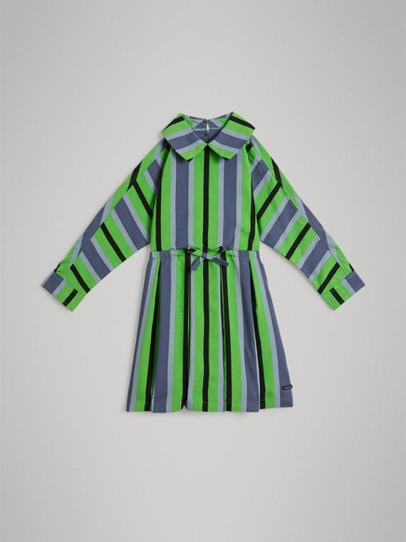 Платье в полоску (Сине-зеленый)