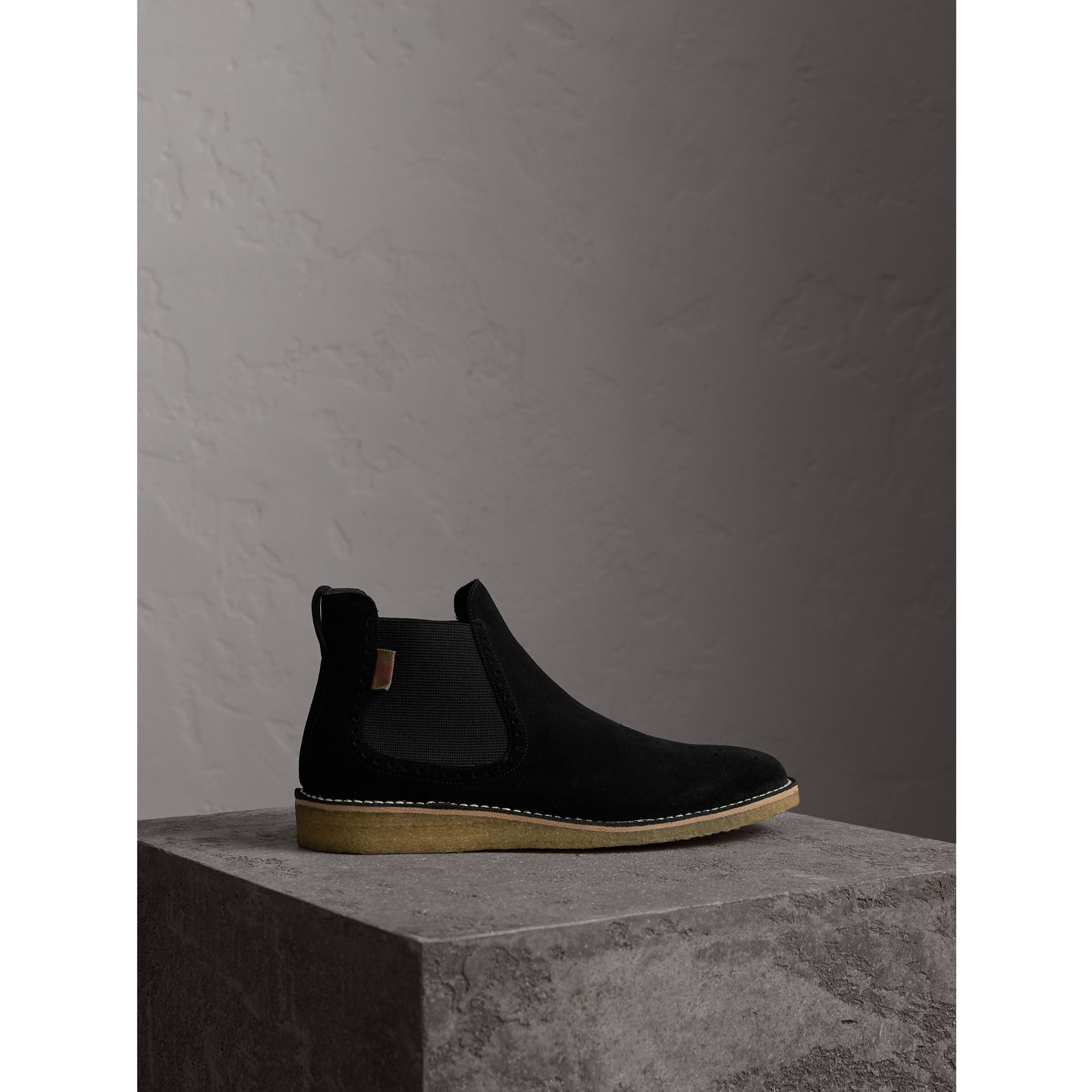 Brogue Detail Suede Chelsea Boots in Black - Men | Burberry United Kingdom - gallery image 1