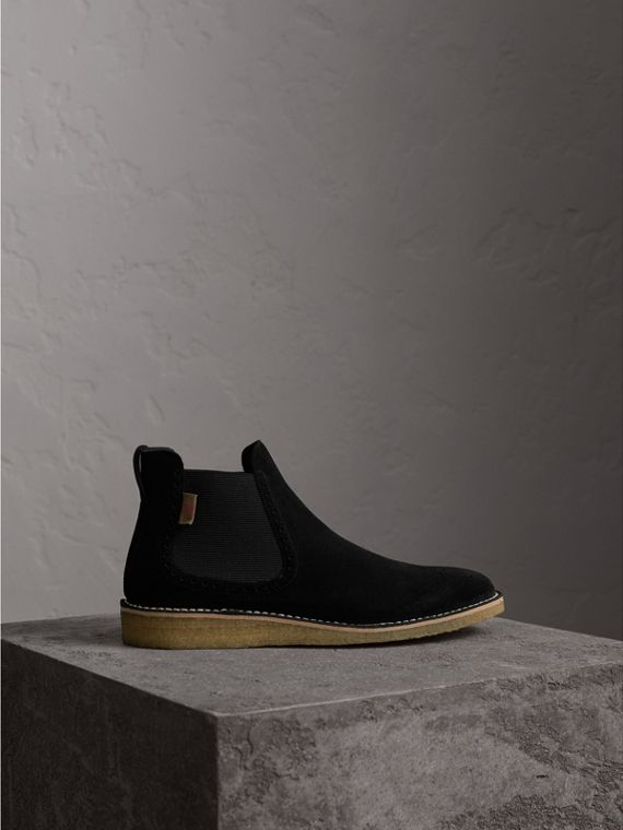 Brogue Detail Suede Chelsea Boots in Black