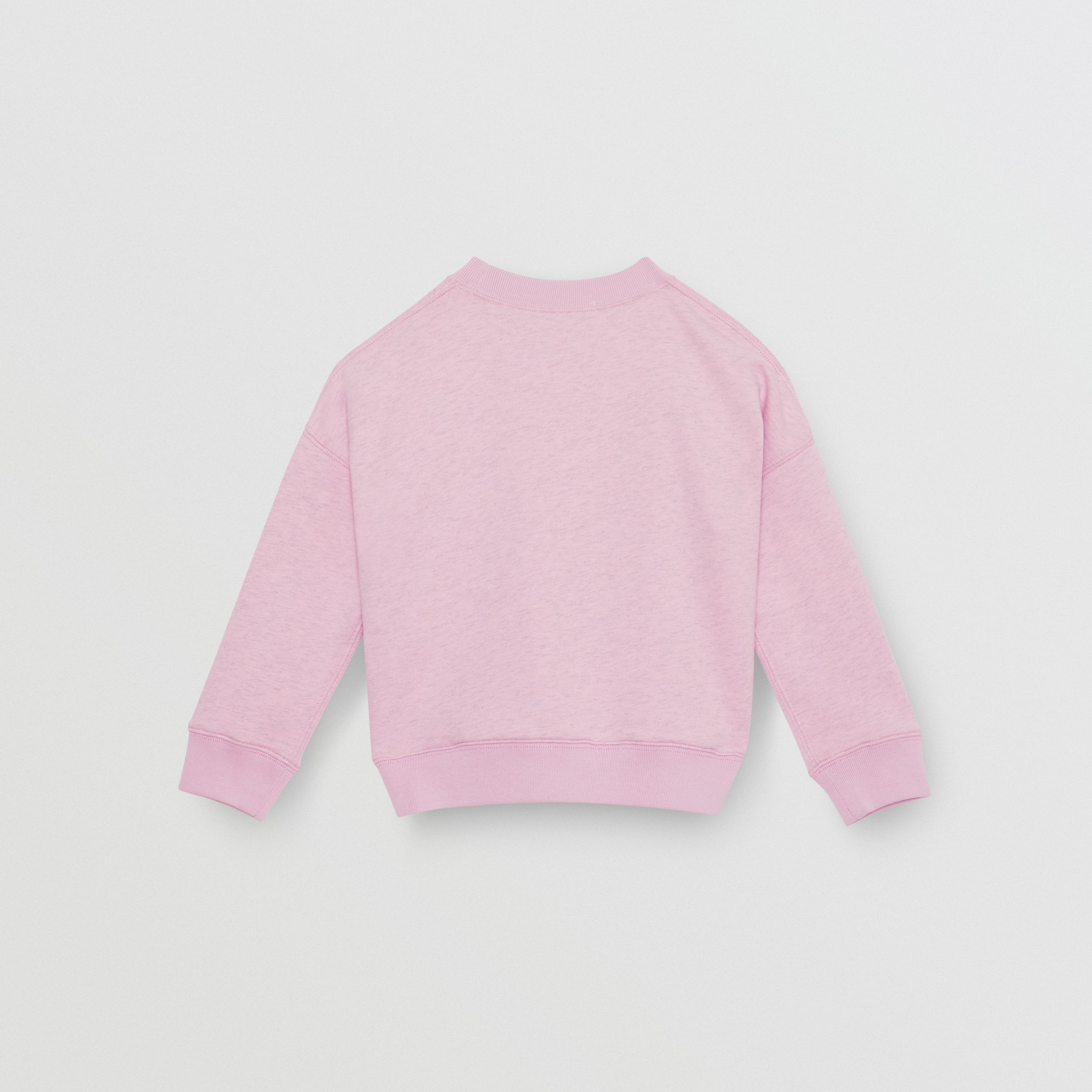 Logo Detail Cotton Sweatshirt in Pale Neon Pink | Burberry - 4