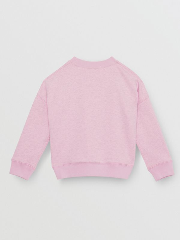 Logo Detail Cotton Sweatshirt in Pale Neon Pink - Children | Burberry - cell image 3