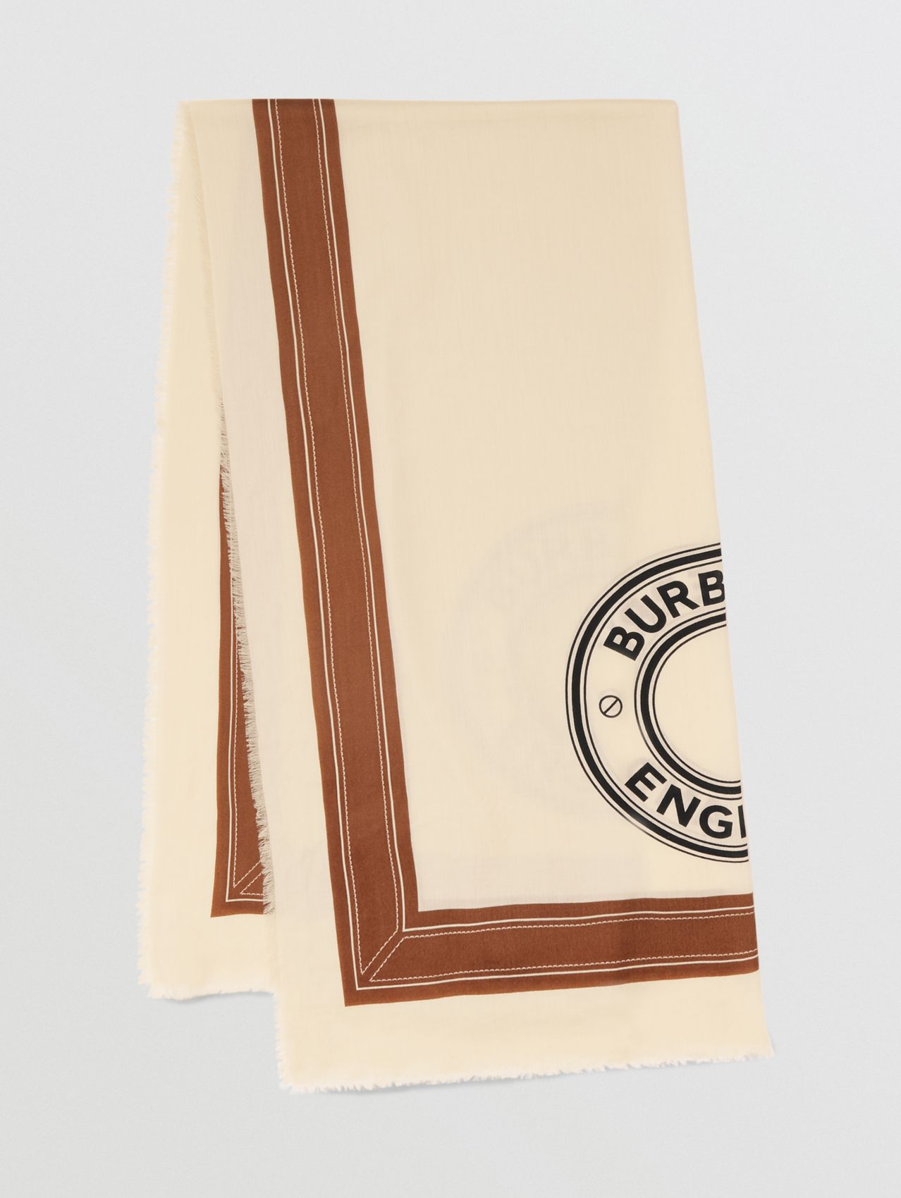 Logo Graphic Lightweight Cashmere Scarf in Natural White