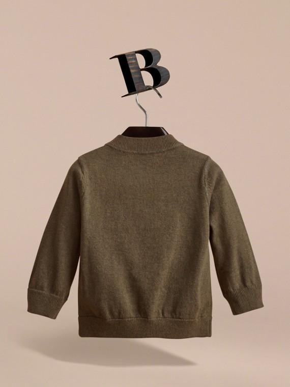 Check Detail Cotton Zip-front Cardigan in Olive Melange - Children | Burberry United Kingdom - cell image 3