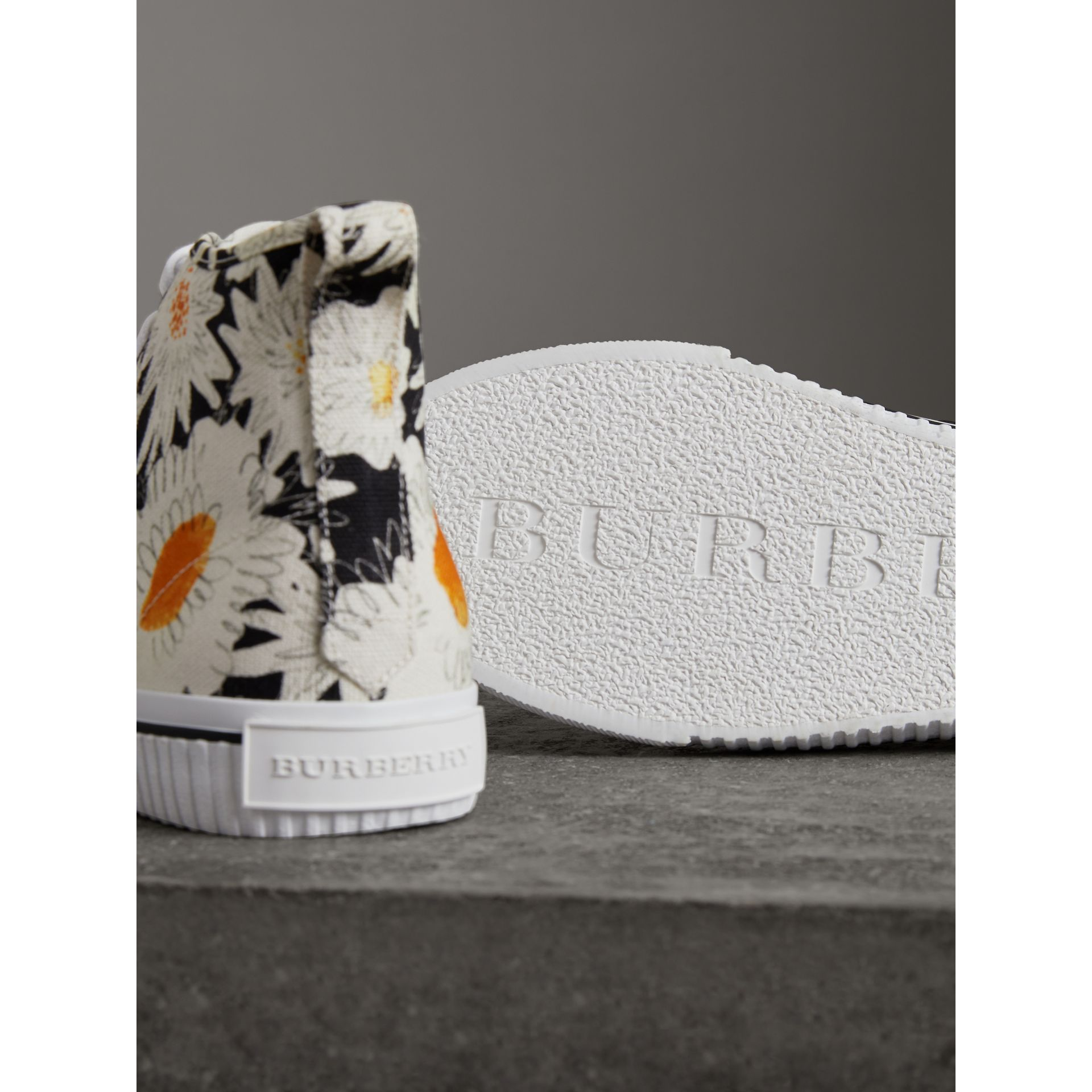 Daisy Print Canvas High-top Sneakers in Black - Men | Burberry Australia - gallery image 1
