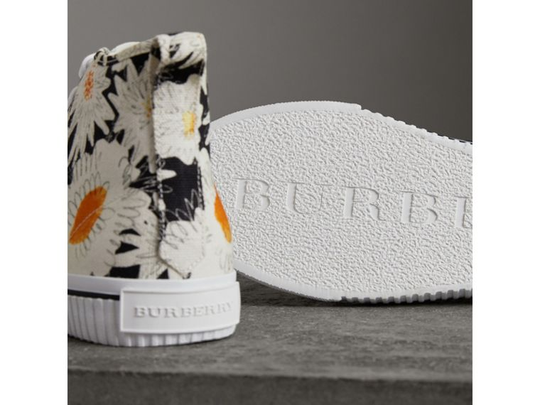 Daisy Print Canvas High-top Sneakers in Black - Men | Burberry - cell image 1