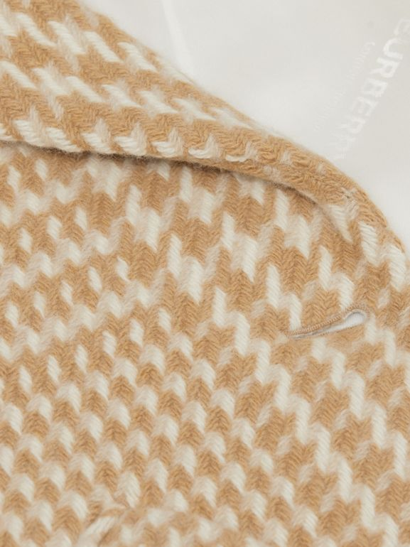 Houndstooth Check Technical Wool Coat in Camel | Burberry - cell image 1