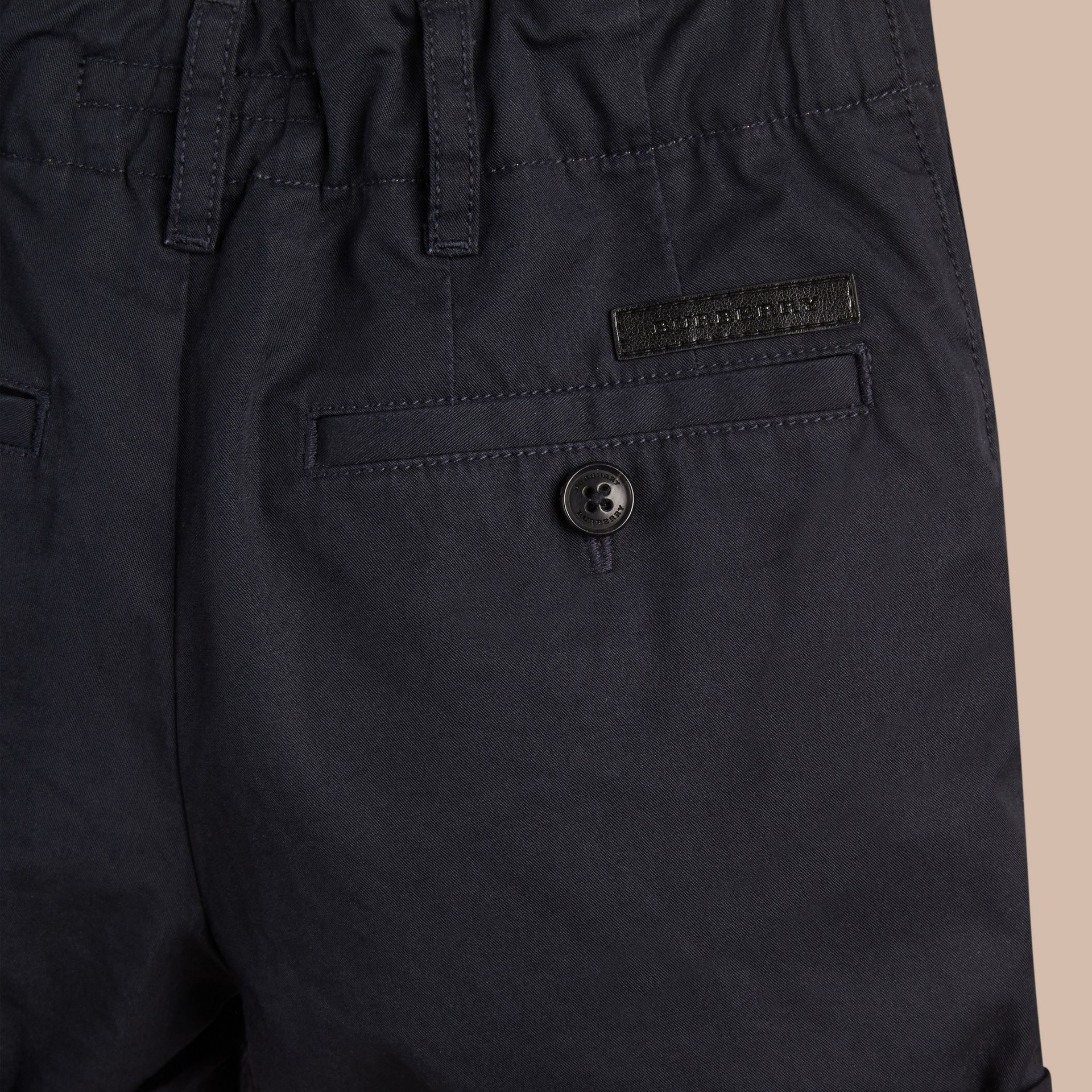 Check Detail Cotton Chino Shorts in Ink - Boy | Burberry United Kingdom - gallery image 2