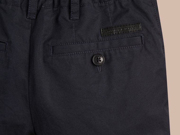 Check Detail Cotton Chino Shorts in Ink - Boy | Burberry Canada - cell image 1