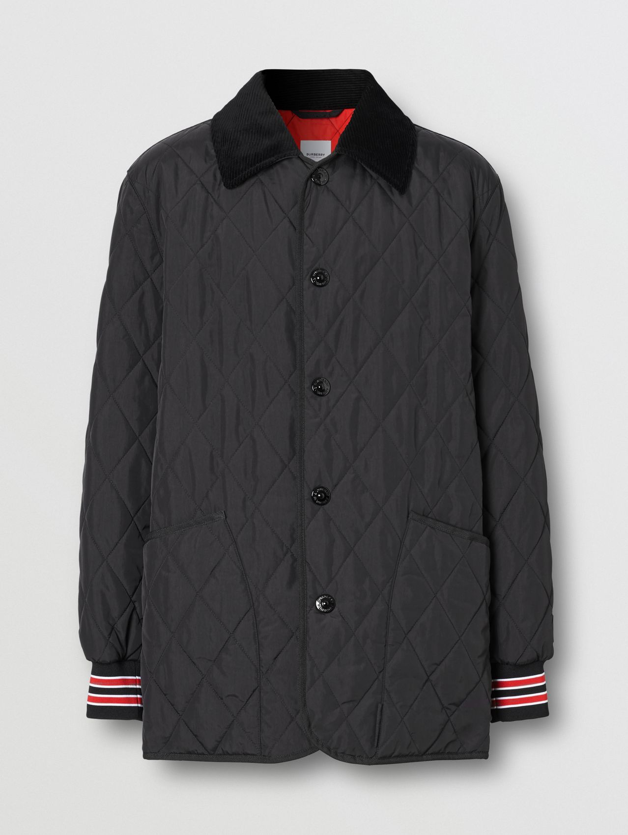 Striped Trim Diamond Quilted Barn Jacket in Black