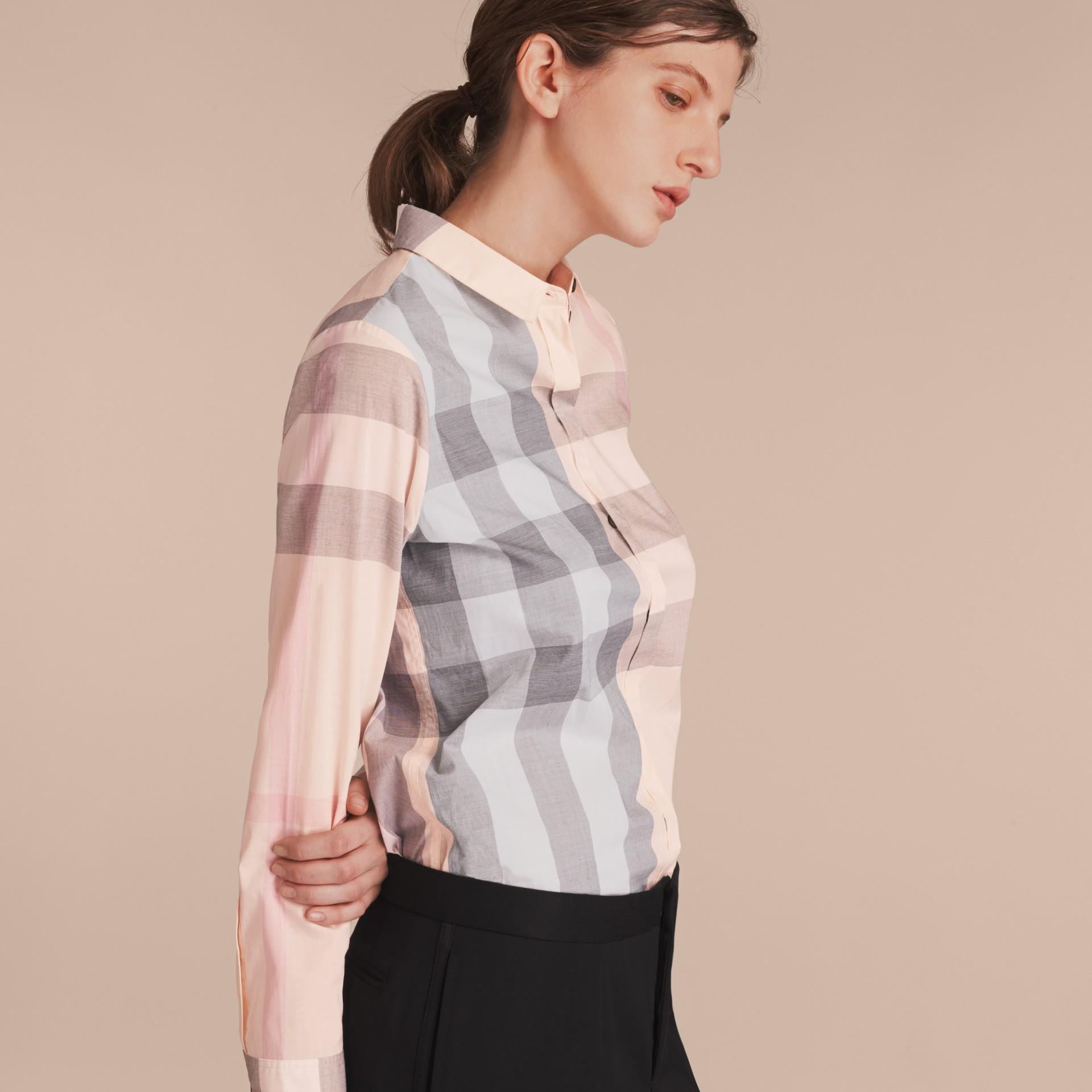 Check Cotton Shirt Apricot - gallery image 5