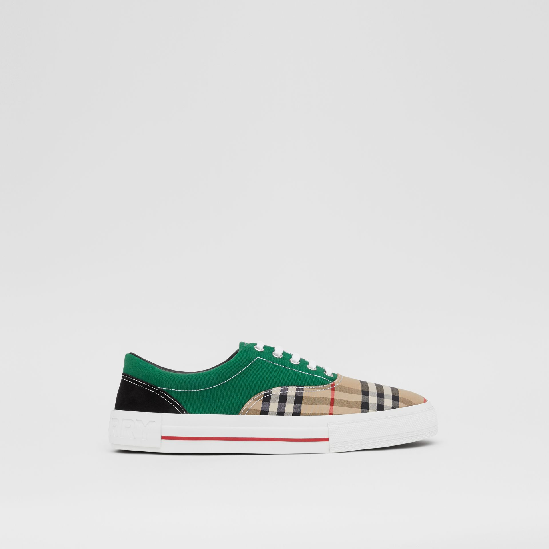 Vintage Check, Cotton Canvas and Suede Sneakers in Archive Beige/green - Men | Burberry - gallery image 4