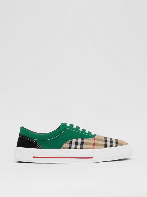 Vintage Check, Cotton Canvas and Suede Sneakers in Archive Beige/green
