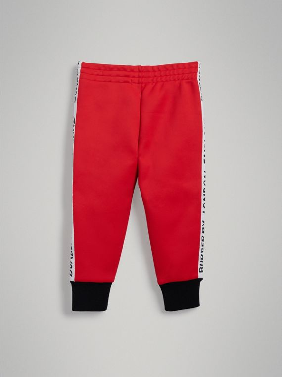 Stripe Detail Jersey Sweatpants in Bright Red - Boy | Burberry Singapore - cell image 3