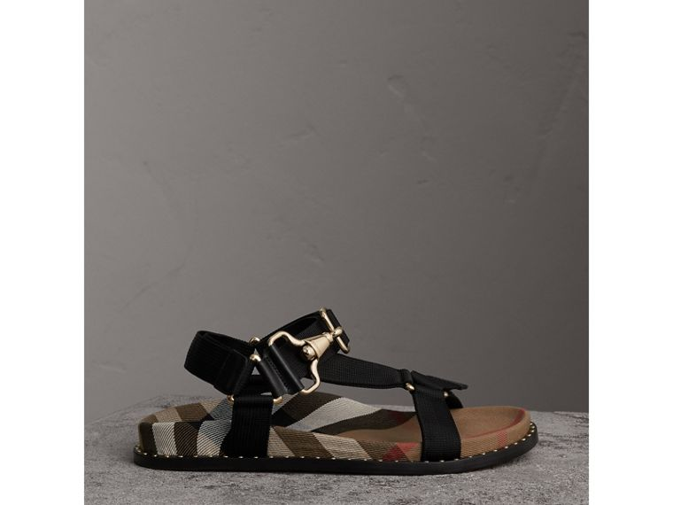 House Check Strappy Sandals with Hardware Detail in Black - Women | Burberry United States - cell image 4