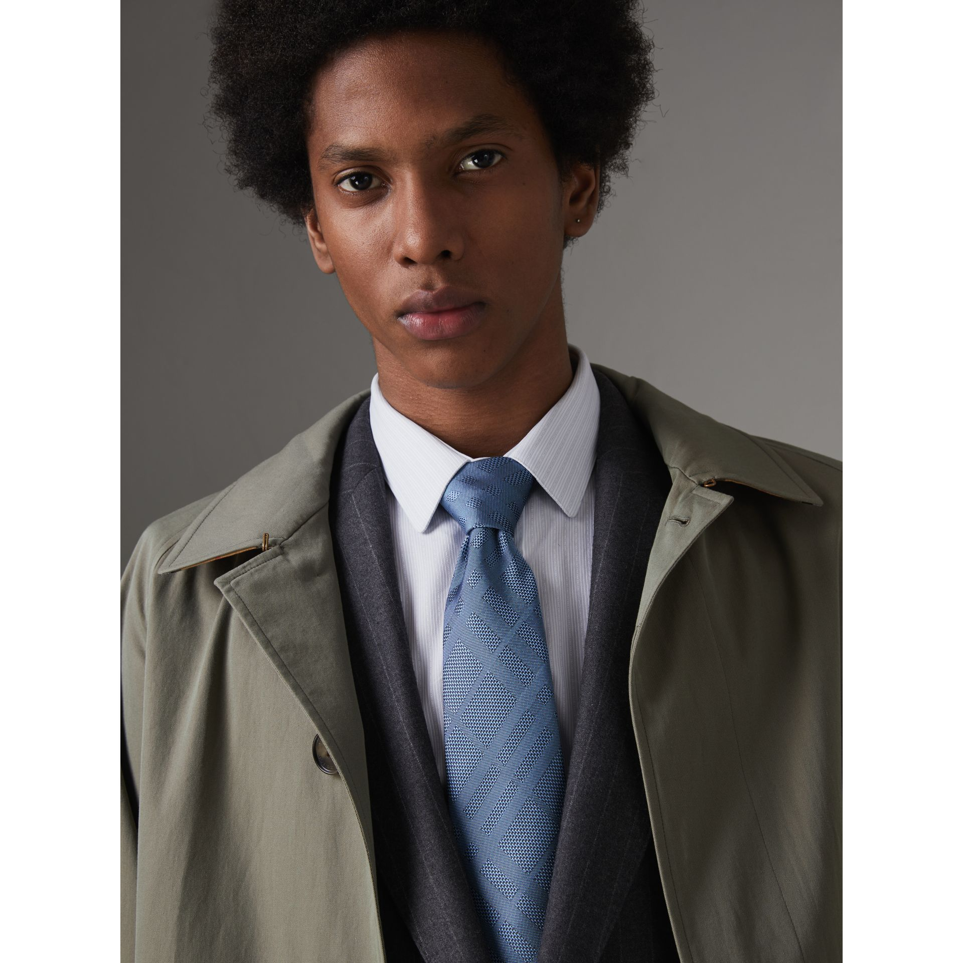 Classic Cut Check Silk Jacquard Tie in Sky Blue - Men | Burberry United States - gallery image 2