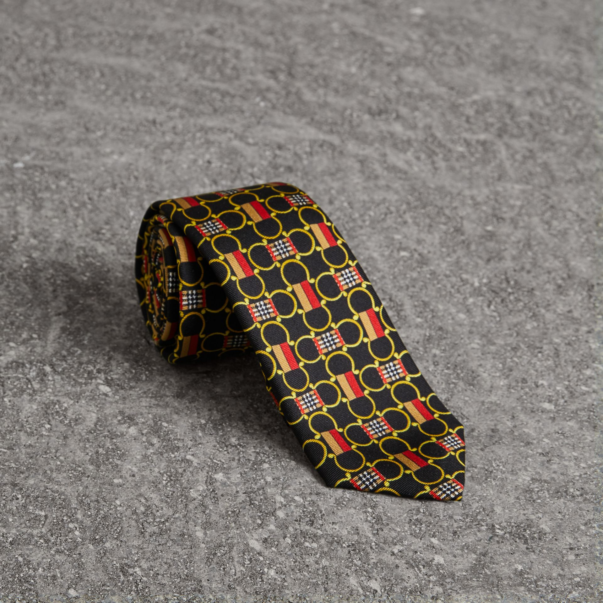 Slim Cut Archive Scarf Print Silk Tie in Black - Men | Burberry United Kingdom - gallery image 0