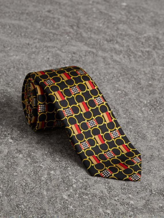 Slim Cut Archive Scarf Print Silk Tie in Black