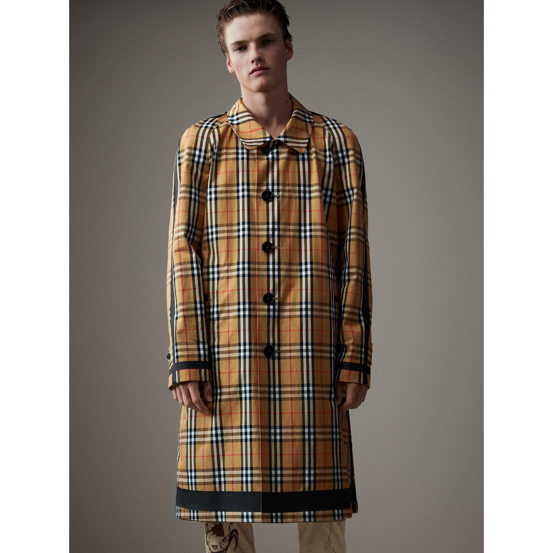 Reversible Vintage Check Gabardine Car Coat in Antique Yellow - Men | Burberry United States - gallery image 7