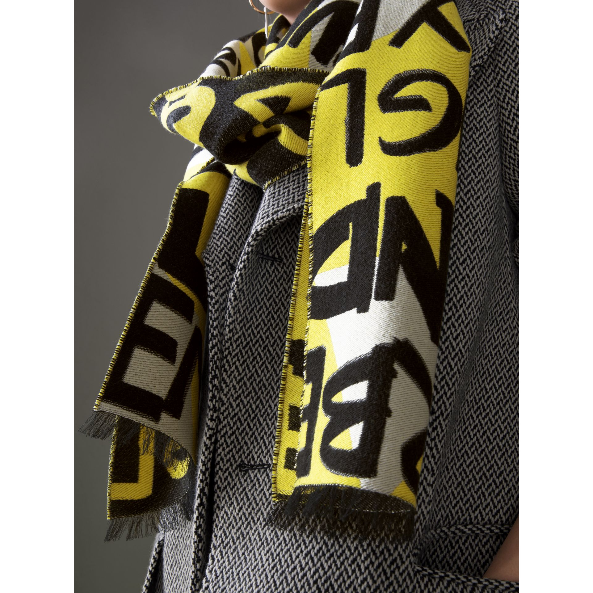 Graffiti Cotton Jacquard Scarf in Bright Yellow | Burberry Singapore - gallery image 4