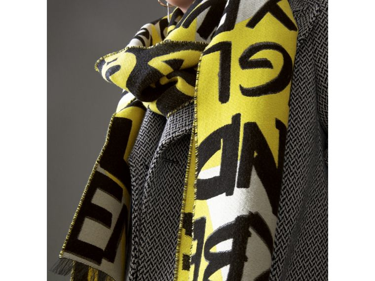 Graffiti Cotton Jacquard Scarf in Bright Yellow | Burberry - cell image 4