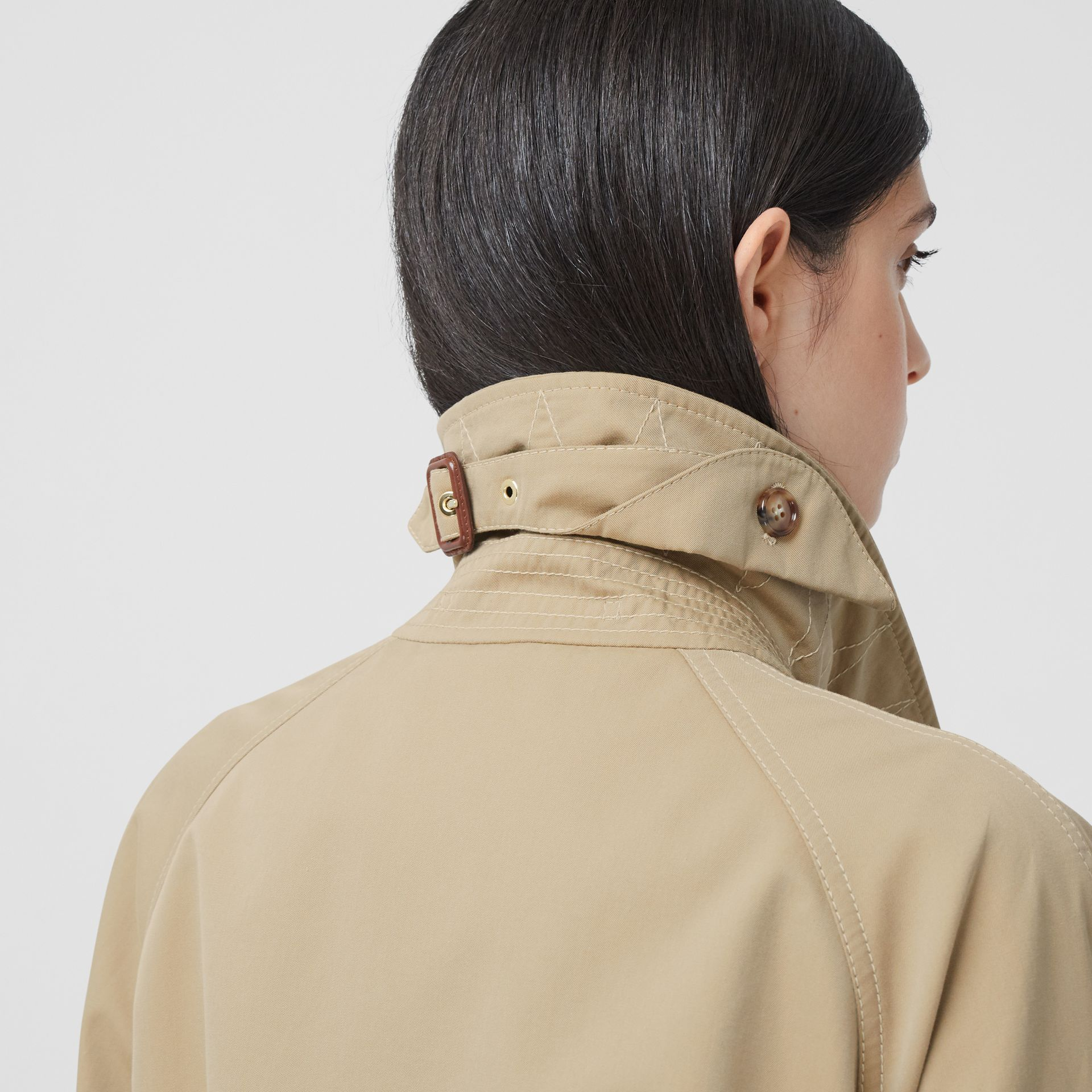 Tropical Gabardine Belted Car Coat in Honey | Burberry - gallery image 5