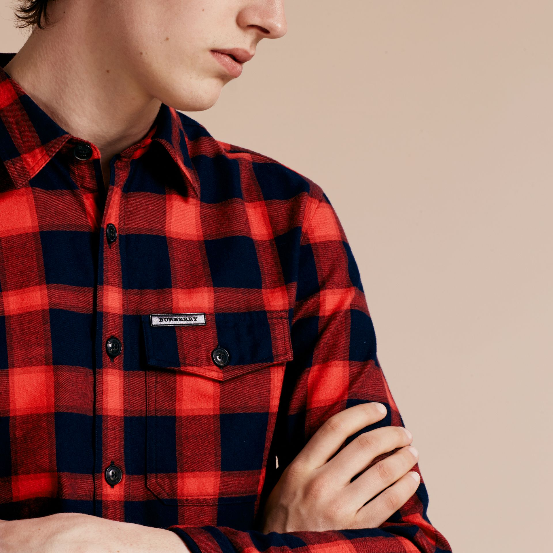 Parade red Buffalo Check Cotton Flannel Shirt Parade Red - gallery image 5