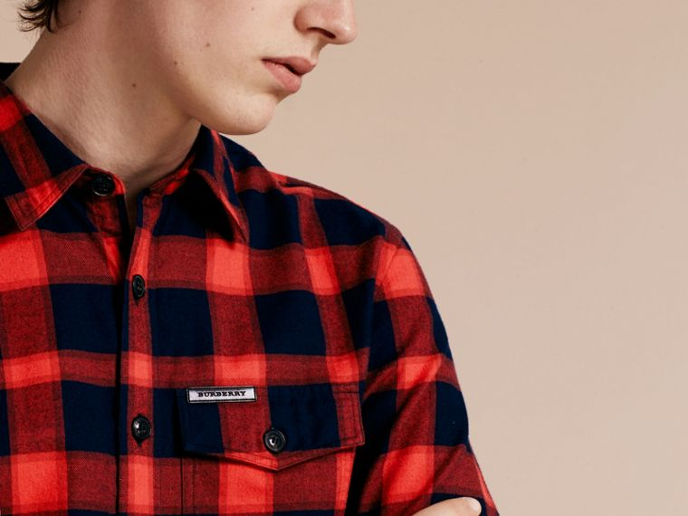 Parade red Buffalo Check Cotton Flannel Shirt Parade Red - cell image 4
