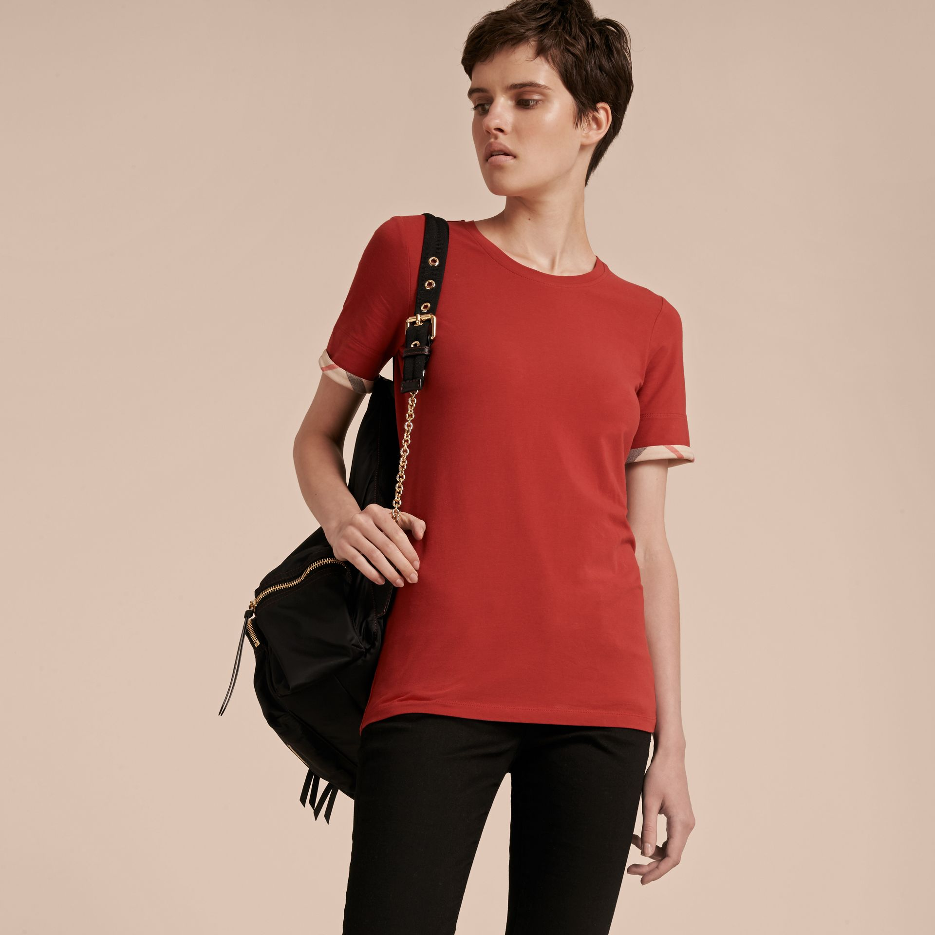 Check Cuff Stretch Cotton T-Shirt in Lacquer Red - gallery image 6