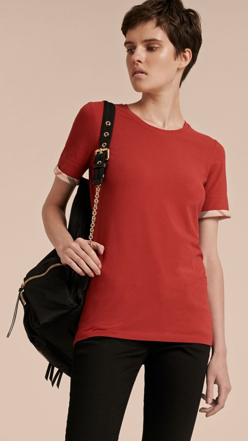 Lacquer red Check Cuff Stretch Cotton T-Shirt Lacquer Red - Image 6