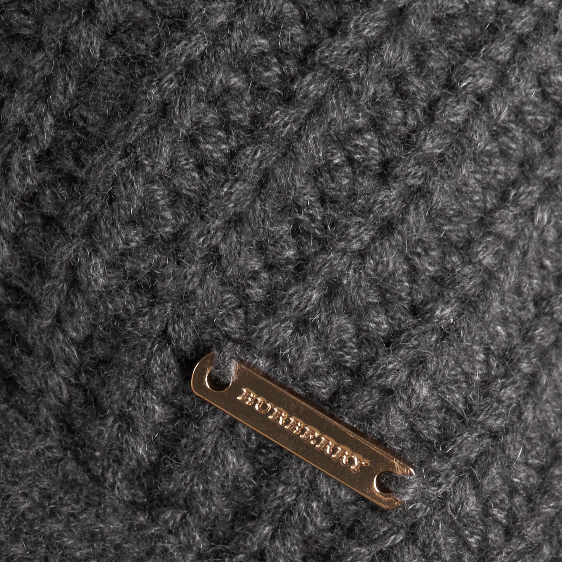 Dark grey melange Knitted Cashmere Cushion Cover Dark Grey Melange - gallery image 2