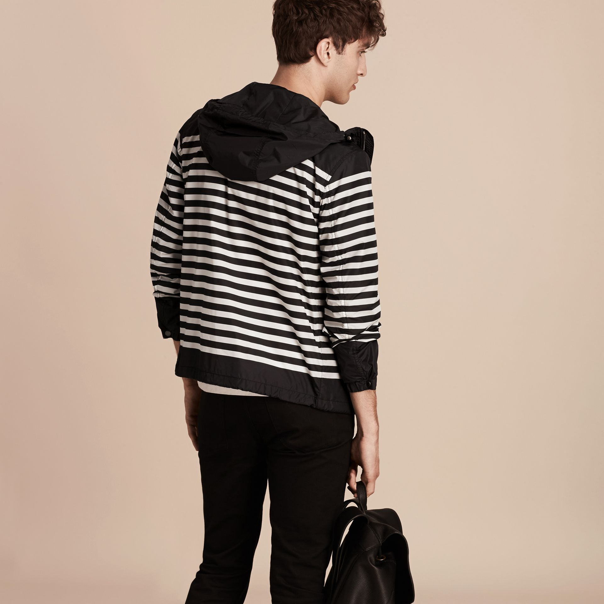 Black/white Striped Hooded Jacket - gallery image 2