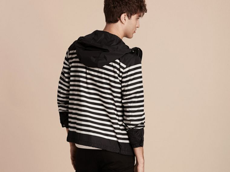 Black/white Striped Hooded Jacket - cell image 1