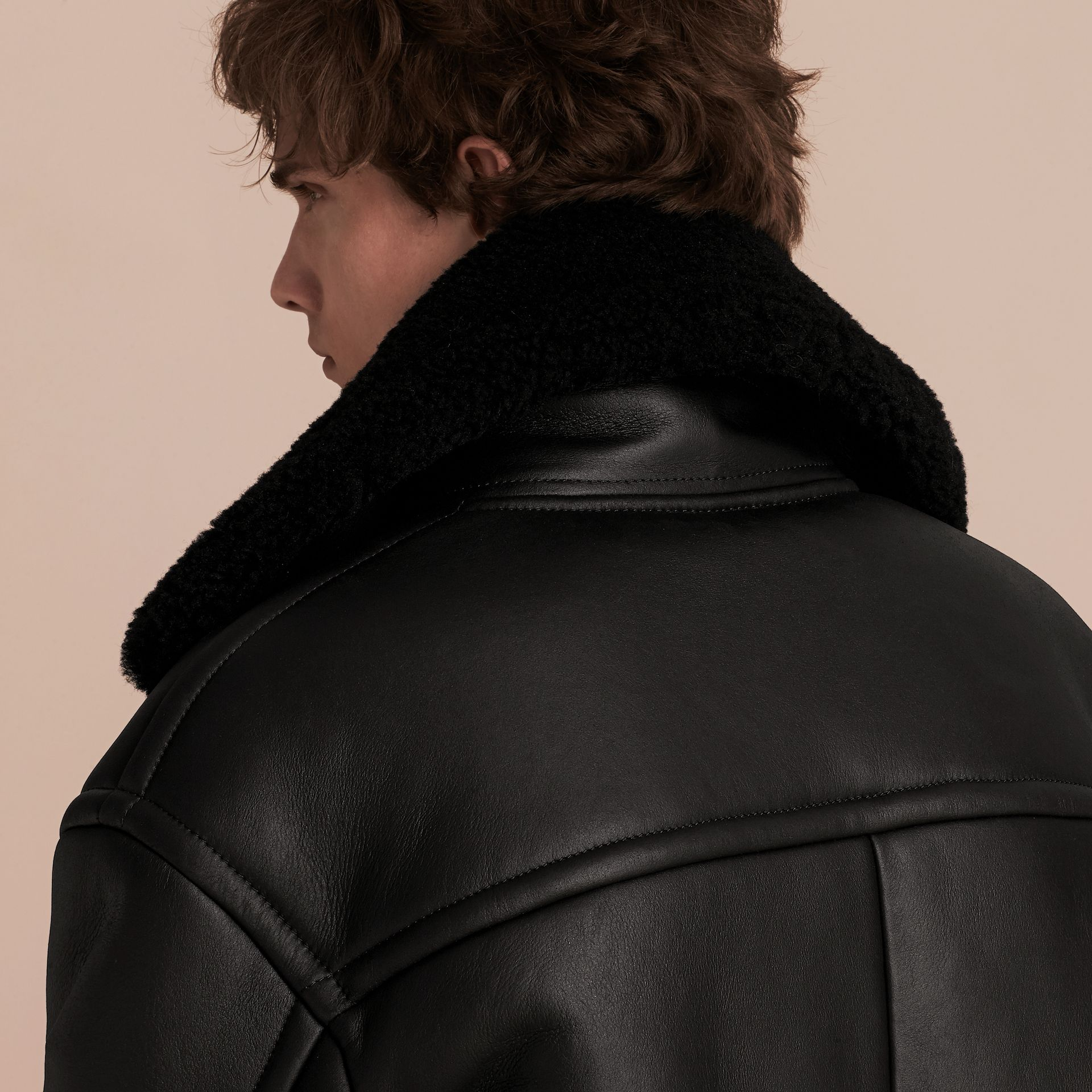 Black Oversize Shearling Flight Jacket - gallery image 5