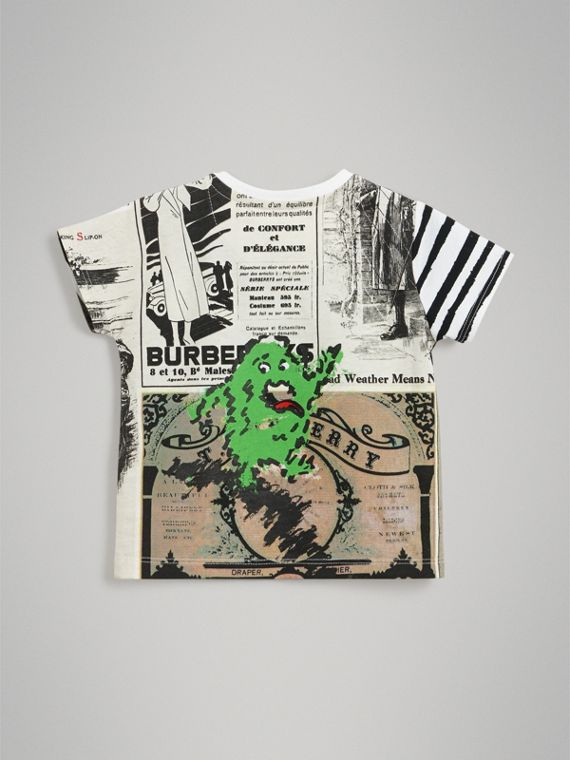 Monster Print Cotton T-shirt in White | Burberry - cell image 3