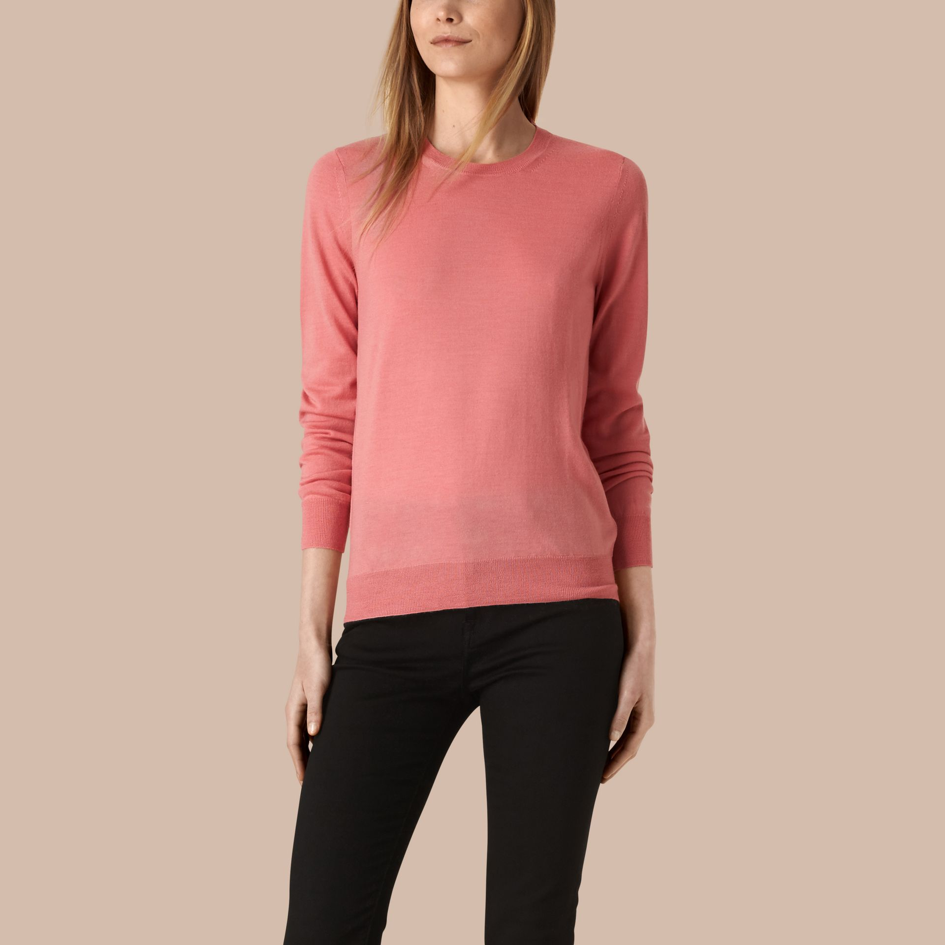 Apricot Check Detail Merino Wool Crew Neck Sweater Apricot - gallery image 1