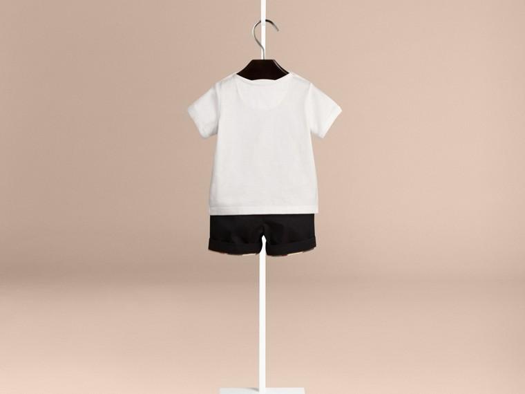 Branco Camiseta de algodão com estampa tipográfica - cell image 1