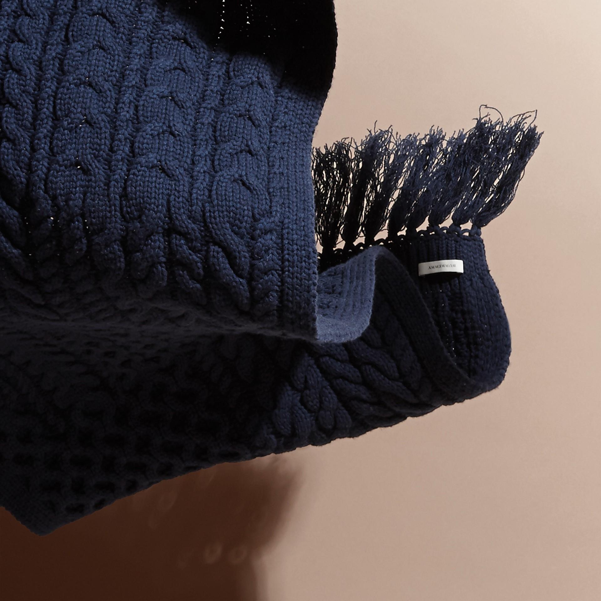 Dark navy Oversize Aran Knit Wool Cashmere Scarf - gallery image 4