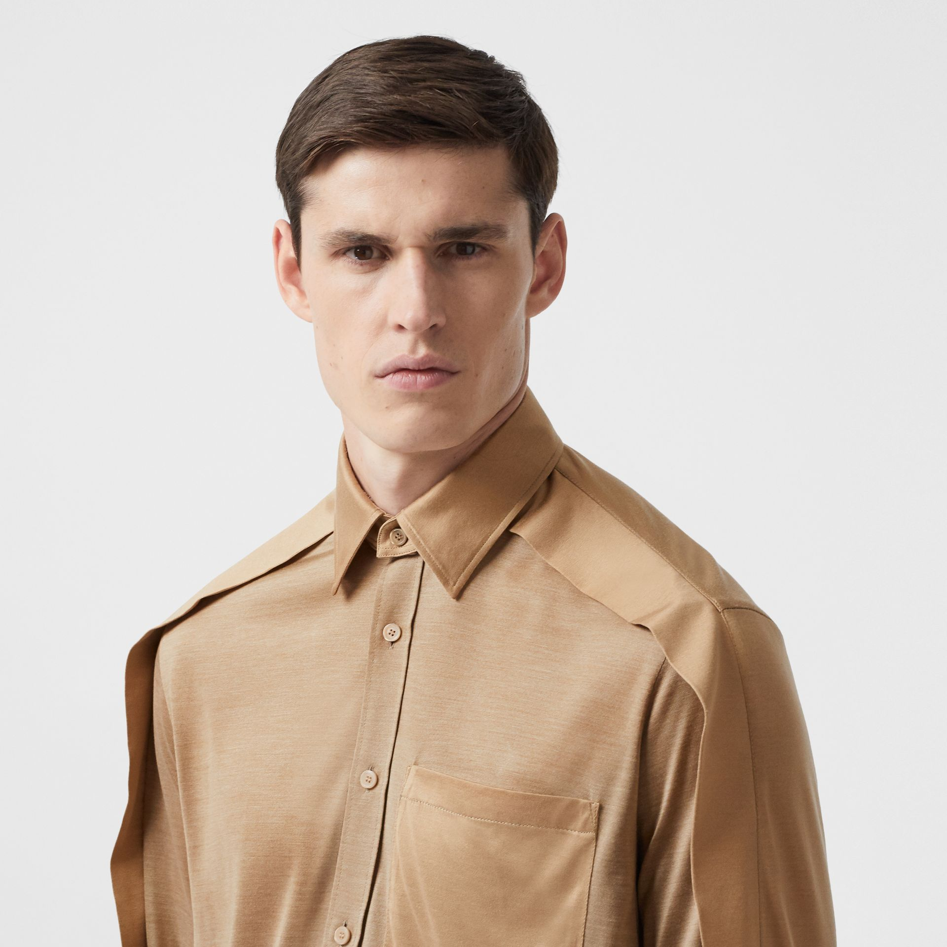 Classic Fit Cape Sleeve Silk Jersey Shirt in Soft Fawn | Burberry - gallery image 4