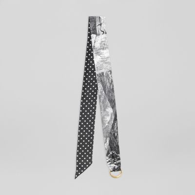 D Ring Detail Dreamscape Dot Silk Jacquard Skinny Scarf by Burberry